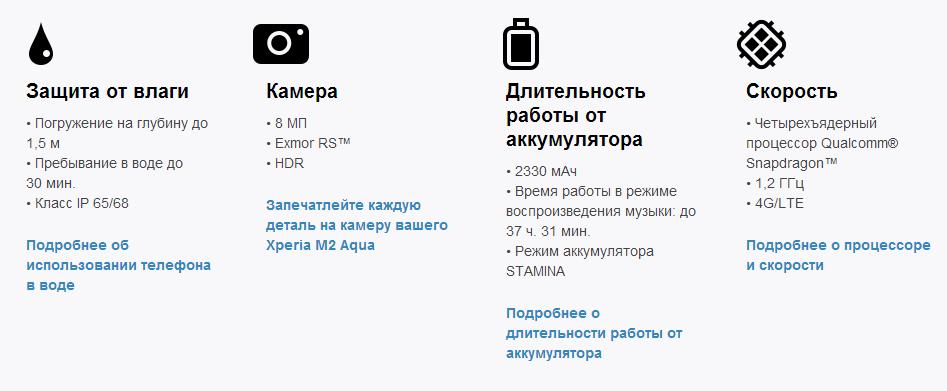 Технические характеристики Sony Xperia M2 Aqua